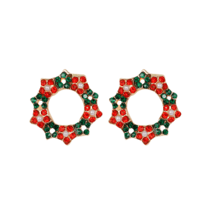Faux Pearl Rhinestone Christmas Wreath Earrings - COLORMIX