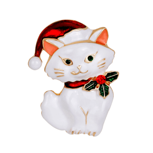 Rhinestone Kitten Christmas Hat Brooch - WHITE