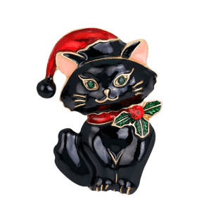 Rhinestone Kitten Christmas Hat Brooch -