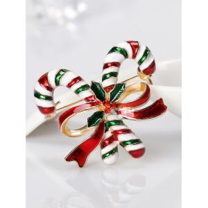 Rhinestone Candy Cane Tiny Christmas Brooch -