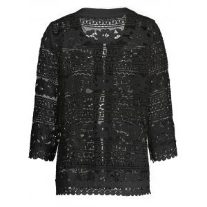 Short Plus Size Hollow Out Lace Jacket - BLACK 4XL