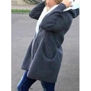 Two Tone Fuzzy Hooded Coat - GRAY ONE SIZE