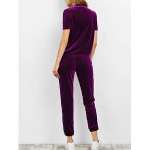 Velvet T Shirt with Pants - DEEP PURPLE XL