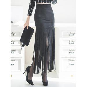 Faux Suede Fringed Maxi Skirt - BLACK M