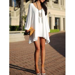 Split Sleeve Chiffon Swing Dress - WHITE 2XL