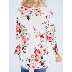 Flare Sleeve Floral Tunic T Shirt - WHITE XL