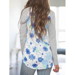 Striped Sleeve Baseball Floral T-shirt - COLORMIX S