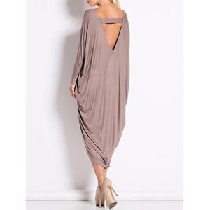 Backless V Neck Casual Long Sleeve Dress - BROWN ONE SIZE