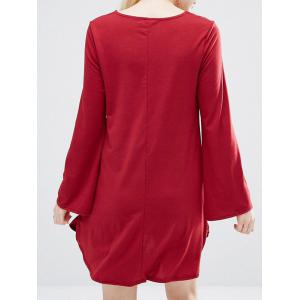 Short Plunge Neck Long Sleeve Dress - RED S