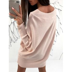 Batwing Sleeve Boat Neck Sweater Dress - LIGHT PINK S