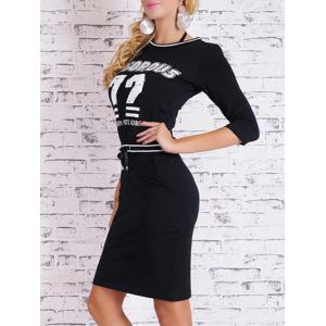 Printed Bodycon Dress with Pocket - BLACK S
