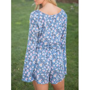 Flare Sleeve Lace Up Floral Romper - BLUE L