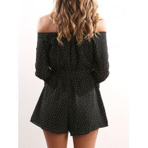 Off Shoulder Wide Leg Print Romper - BLACK S