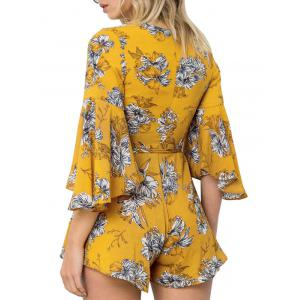Flare Sleeve Plunge Neck Floral Romper - YELLOW M