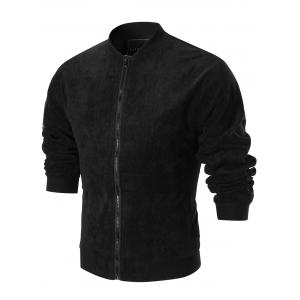 Patched Sleeve Graphic Back Corduroy Jacket - BLACK M