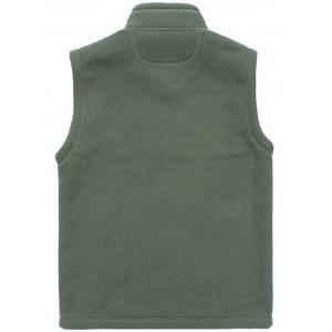 Zip Up Flag Embroidered Fleece Waistcoat - ARMY GREEN XL