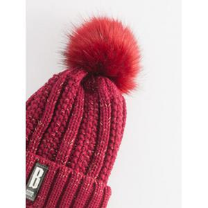 Letter B Label Knitted Pom Hat with Scarf - WINE RED