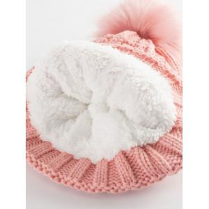 Letter B Label Knitted Pom Hat with Scarf - PAPAYA
