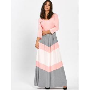 Chevron Stripe Scoop Neck Maxi Dress - ROSE PÂLE M