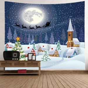 Christmas Night Village Print Tapestry Décoration murale suspendue - Blanc Largeur 59pouces*Longeur 51pouces