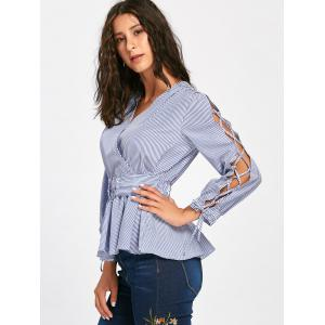 Striped Lace Up Sleeve Surplice Blouse -