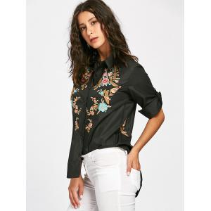 Floral Embroidery High Low Blouse - BLACK S