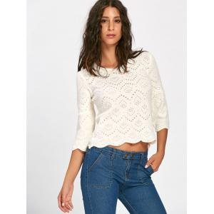 Bell Sleeve Hollow Out Pullover Sweater - BEIGE ONE SIZE