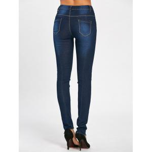 Floral Embroidered Skinny High Waisted Jeans - DEEP BLUE M