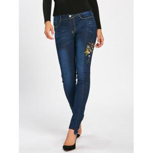 Floral Embroidered Skinny High Waisted Jeans - DEEP BLUE L