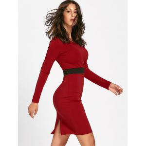 V Neck Two Tone Mini Bodycon Dress - RED 2XL