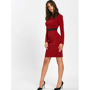 V Neck Two Tone Mini Bodycon Dress - RED L