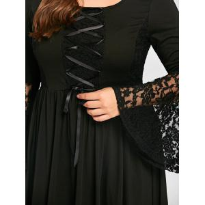 Plus Size High Low Lace Up Gothic Dress -