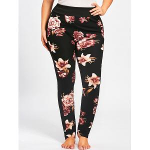 Plus Size Floral Skinny Pants -