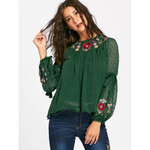 Floral Embroidered Tassel Bell Sleeve Blouse - GREEN M