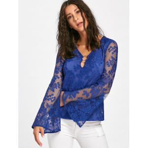 Keyhole Neck Bell Sleeve Blouse - BLUE M