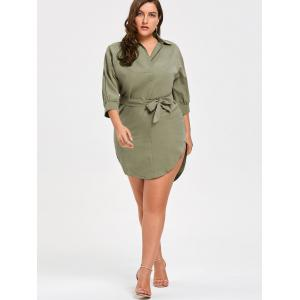 Bleted Plus Size High Low Shirt Dress -