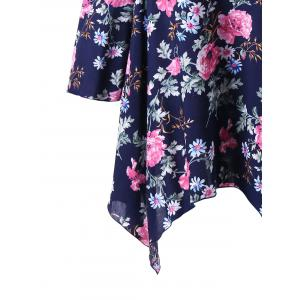 Plus Size Dew Shoulder Floral Handkerchief Blouse - DEEP BLUE 2XL