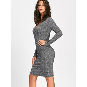 Surplice Ribbed Long Sleeve Knit Dress -