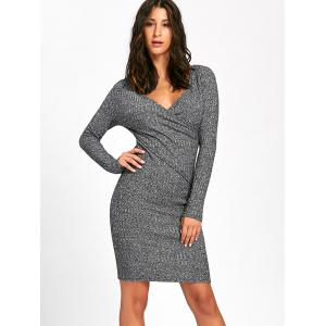 Surplice Ribbed Long Sleeve Knit Dress - GRAY XL