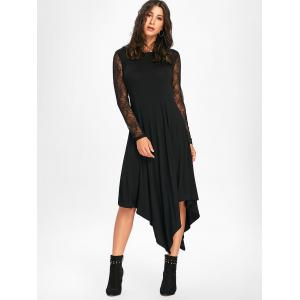Halloween Spider Web Handkerchief Flowy Dress - BLACK M