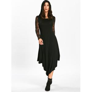 Halloween Spider Web Cut Out Handkerchief Midi Dress - BLACK L