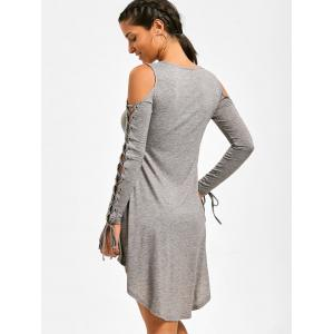 Open Shoulder Lace Up Tee Dress - HEATHER GRAY 2XL