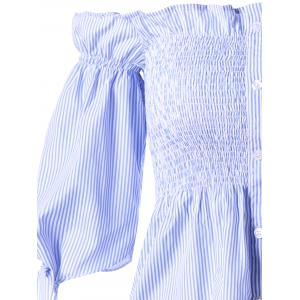 Button Up Off The Shoulder Striped Blouse - BLUE STRIPE 2XL
