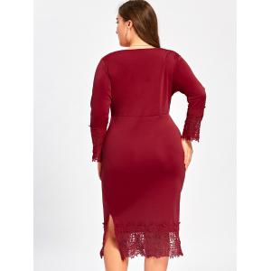 Robe de survêtement Midi Lace Trim Plus Size - Rouge vineux  5XL