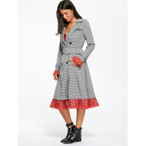 Houndstooth Print Lace Trim Belted Long Coat -