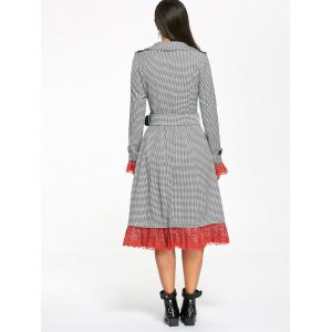 Houndstooth Print Lace Trim Belted Long Coat - Blanc et Noir XL