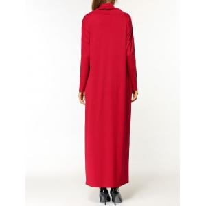 Cowl Neck Long Sleeve Maxi Dress - RED ONE SIZE