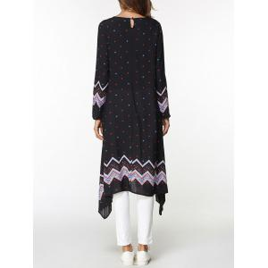 Zigzag Asymmetrical Long Sleeve Dress -