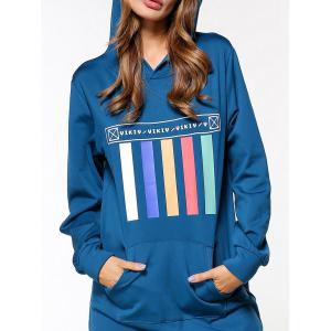 Graphic Long Sleeve Hoodie Dress - BLUE 2XL