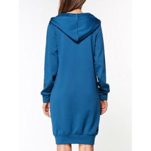 Graphic Long Sleeve Hoodie Dress - BLUE L
